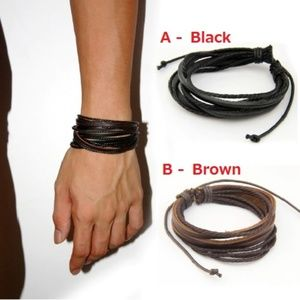 Other - Adjustable Leather Strip Bracelet Men Women Unisex